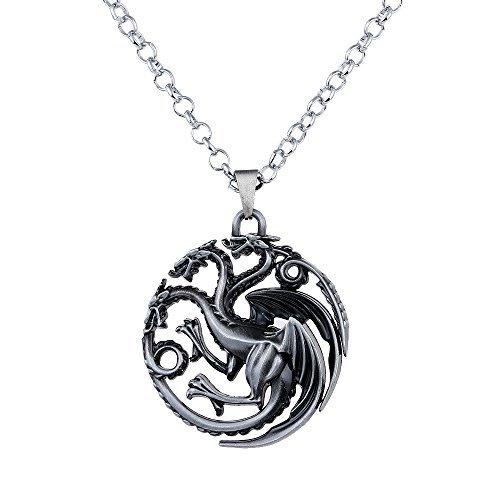 Lureme Spiel der Throne inspiriert Targaryen Anhänger Kostüm Halskette-Antique Silber (nl005382-2)