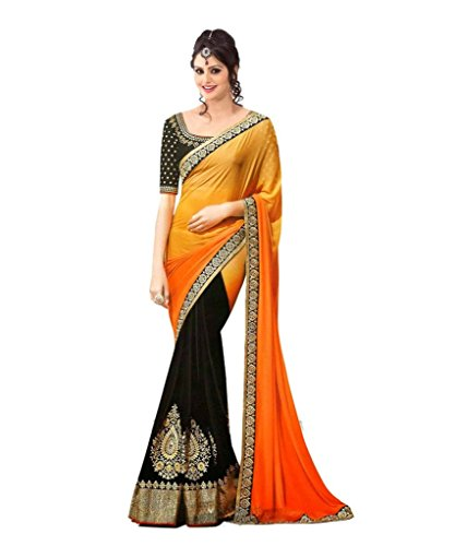 Glory Sarees Georgette Saree (Nakkashi2022_Orange And Black)