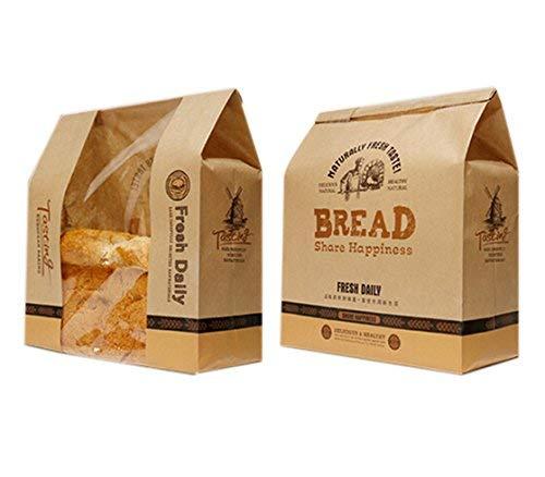 funcoo Pack de 30papel Kraft envases de alimentos pan Bakery bolsa con ventana frontal, etiqueta sello pegatina para regalo 33x21x9cm Style-2