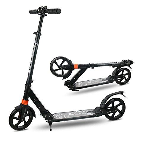 Cushman Motor (Yoleo New Generation höhenverstellbarer, zusammenklappbarer Tretroller/3-Rad-Kinder-Roller – starker Aluminium-Rahmen und spezielle Lovely Leucht-Räder für Kinder, schwarz)