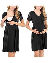 Pasithea Vestido de Maternidad de enfermería para Mujeres Vestido de Lactancia para Embarazadas