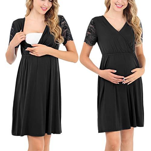 Pasithea Damen Umstandskleid Pflege Nachthemd Schwangerschaft Stillen Nachthemd Schwarz S - Läuft Spandex Shorts
