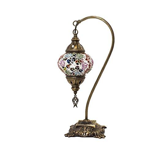 Mosaik Lampe-Türkisch Mosaik & Schreibtisch Lampe, atemberaubende, Einzigartige Globe Lampenschirm, marokkanischer Stil, Schwanenhals Serie (Andalusit) -