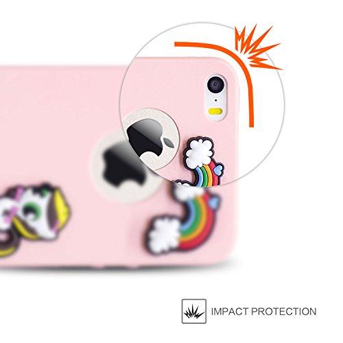 Custodia iPhone 5 Case iPhone SE Cover iPhone 5S custodia Kcdream Fashion Moda Ultraslim TPU Caso Elegante Carina Souple Flessibile Morbido Silicone Copertura Perfetta Protezione Shell Paraurti Custod Rosa