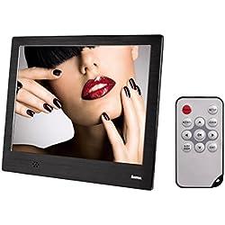 """Hama 8SLB Cornice Digitale Multimediale, 8"""" (20.32 cm),4:3, 1024x768 SD/SDHC/ MMC, Foto, Telecomando, Metallo, Nero"""