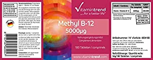 Vitamintrend - Methylcobalamin 5000?g - ! bulk pack FOR 6 MONTHS ! - vegan - high dose vitamin B12 - 180 tablets