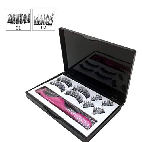 Bouder Magnetisches Wimpern- und Eyeliner-Set, 8-teiliges magnetisches 3D-Kit für künstliche falsche Wimpern 2 Paar Wiederverwendbare natürliche Wimpern mit Pinzette