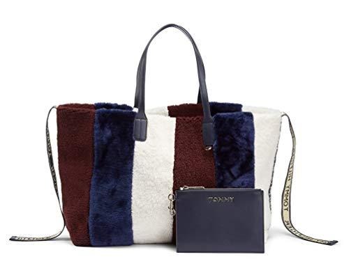 Tommy Hilfiger Iconic Tote Corp Fur, Sacs bandoulière femme, Bleu (Rainbow Corporate), 1x1x1 cm (W x H L)