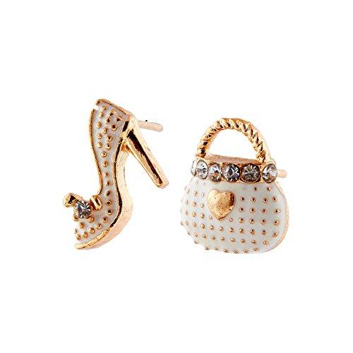 Selia High Heel Ohrring studs Ohrstecker Tasche Schuhe minimalistisch zarte Optik handgemacht (Weiß) (Handgemachte High Heel Heels)