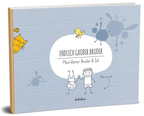 """Geschenk für großen Bruder:\""""kleiner Bruder + großer Bruder\""""-Buch (Öko, Recycling-Papier, Erinnerungsalbum/Fotoalbum für Geschwister zur Geburt)"""