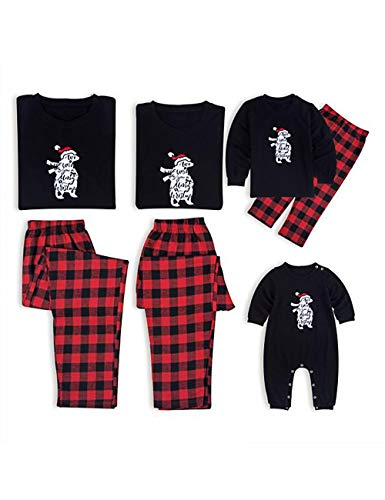 BESBOMIG Suave Algodón Navidad Conjunto de Pijamas Familiaridad Camisetas Personalizado - Camisetas de Manga Larga y Pantalones Mamá Papá Niño