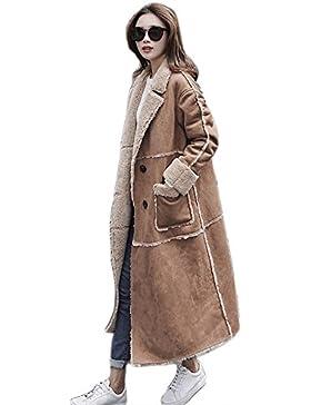 invierno de las mujeres que empalman abrigos largos prendas de vestir exteriores de gran tamaño de las señoras...