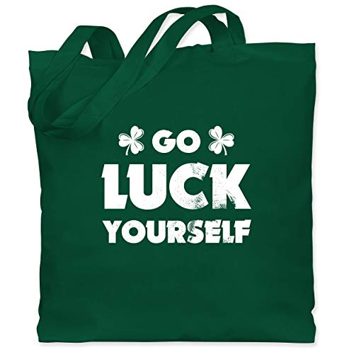 St. Patricks Day - Go Luck Yourself St Patricks Day - Unisize - Dunkelgrün - WM101 - Stoffbeutel aus Baumwolle Jutebeutel lange Henkel (Glück Irish T-shirts Herren)