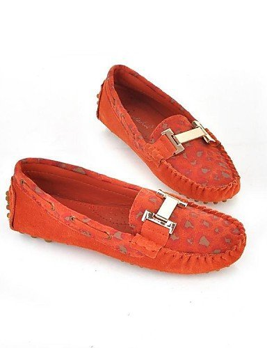 ShangYi gyht Scarpe Donna - Mocassini - Tempo libero / Casual - Punta arrotondata - Piatto - Di pelle - Rosso / Arancione / Tessuto almond Red