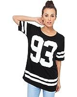 KRISP® Womens American Baseball Varsity T shirt Long Jersey Casual Tops Plus Size