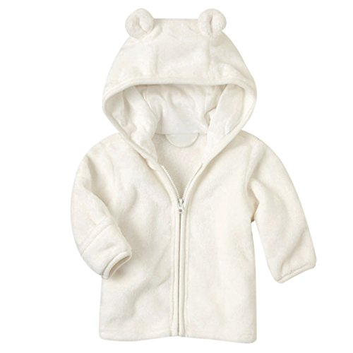 Funoc Winter Warm Coat Jacket Micro Fleece Hoodie Zip Up Clothes for 3-24 Month Baby Girls Boys Infant Toddler