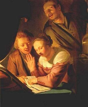 GFM Painting Handgemalte Ölgemälde Reproduktion von Musical Trio 1623,Ölgemälde von Pieter De Grebber - 36 By 48 inches -