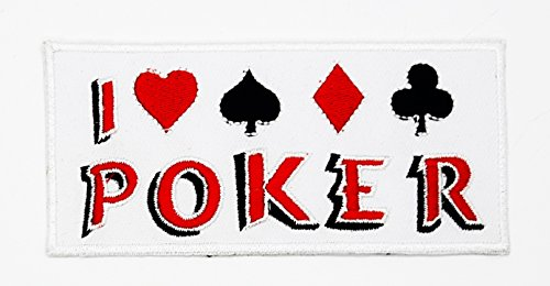 (rabana I Love Poker Glücksspiel Winner Spielkarten Casino Las Vegas Funny Worte Patch für Heimwerker-Applikation Eisen auf Patch T Shirt Patch Sew Iron on gesticktes Badge Schild Kostüm)
