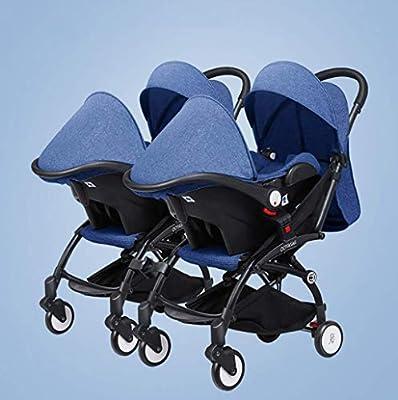 BABY CARRIAGE ZLMI Twin bebé Cochecito Ligero Plegable portátil Plegable Cesta BB Coche Puede Sentarse/reclinar de Dos vías Ajustable para 0-3 años de Edad,Blue#4