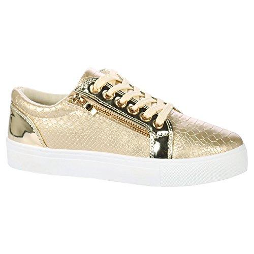 ByPublicDemand Rowena Donna Stringate scarpe da ginnastica - Oro (Patent Alta Heel)