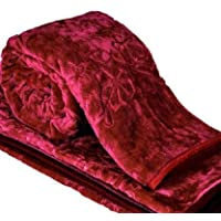 Ultra Soft Luxurious Embossed Very Warm Korean Mink Blanket Double Bed for Winter - Maroon (152 X 229 cm) (Single…