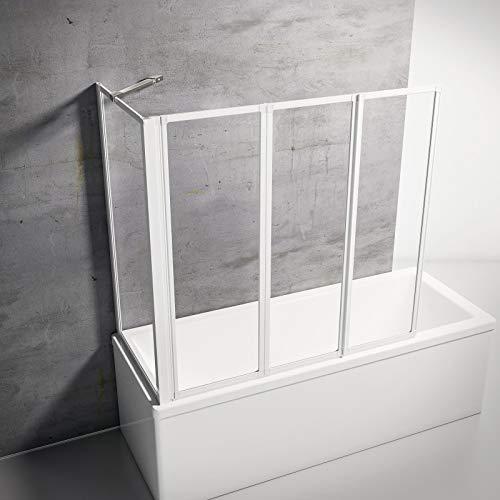 Schulte D133070 04 50 Smart Duschabtrennung für Badewanne alpinweiß + Echtglas klar mit Seitenwand für 68-71 cm Wanne