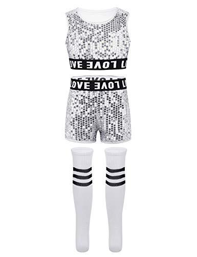 ranrann Kinder Pailletten Bekleidungsset Crop Top mit Shorts Socken Tanz Outfits Set Mädchen Hip-Hop Jazz Performance Party Kleidung 3-14 Jahre Silber - Tanz Performance Kostüm Mädchen