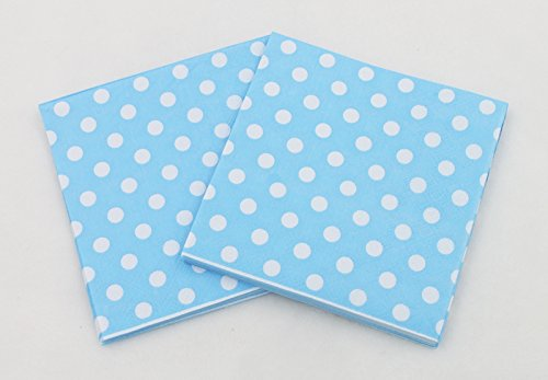 Partysanthe Polka Dot Theme Paper Tissues/Napkins, Hot Blue with White -20 Napkins in Pack