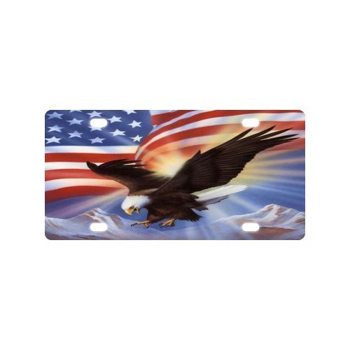 Cool Design Bald Eagle American Flag Mental Car License Plate with 4 12