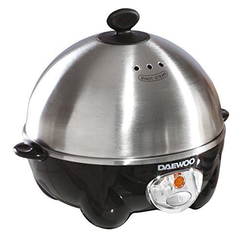 41XYkAfW7DL. SS500  - Daewoo 360W Compact Egg & Omelette Cooker with  Steam Vents, Boil Dry Protection, Heat-Resistant Handles - Silver/Black