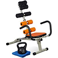 Preisvergleich für Relaxdays Bauch- & Rückentrainer, Polstergriffe, Rollen, Lehne verstellbar, Zuhause, Workout, HBT 80x55x90cm, Mehrfarbig
