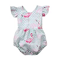 EGELEXY Baby Girls One Piece Rompers Flamingo Print Ruffle Sleeve Bodysuit Outfits Size 18-24Months/Tag100 (Green)