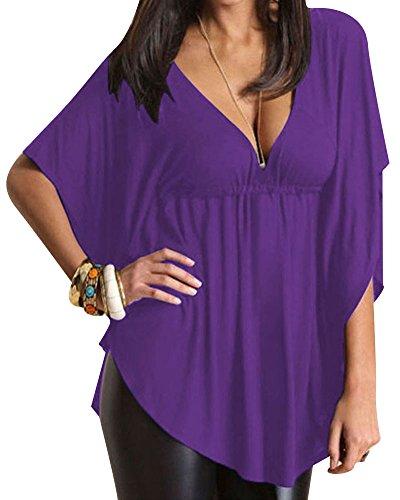 T shirt donna estate eleganti taglie forti camicia v scollo casual manica corta maglietta puro colore sciolto top bluse viola xl