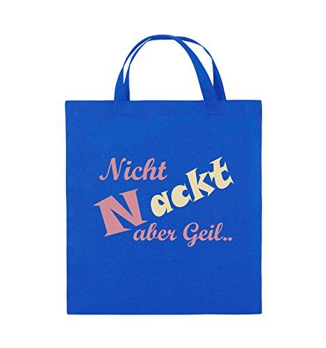 Comedy Bags - Nicht nackt Aber geil. - Jutebeutel - Kurze Henkel - 38x42cm - Farbe: Royalblau/Rosa-Beige