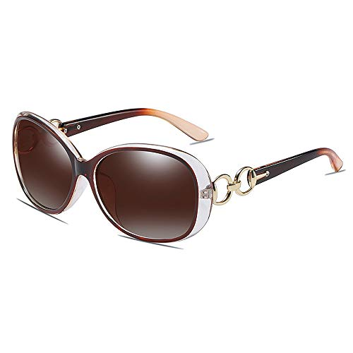 BlueAurora Frauen polarisierte Sonnenbrille, UV400 Mode Brillen zum Fahren,Brown