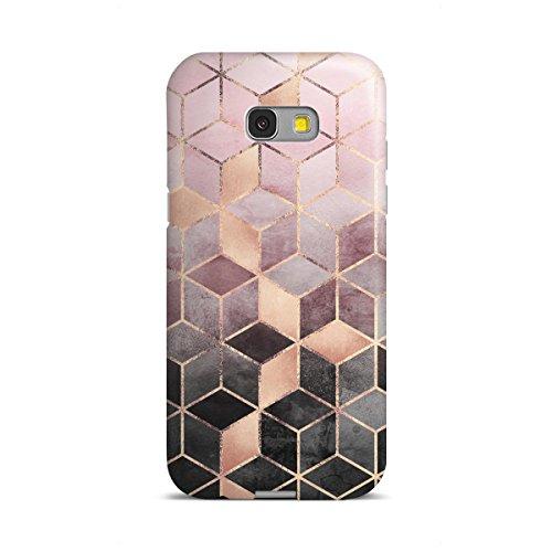 artboxONE Samsung Galaxy A5 (2017) Premium-Case Handyhülle Pink Grey Gradient Cubes von Elisabeth Frederiksson