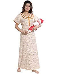 b291686174 TUFAB Women s Cotton Small Flower Print Long Zip Pattern Nighty Nightwear  Nighties (Multipurpose