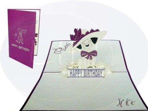 LIN-POP UP Grußkarten zum Geburtstag, Geburtstagskarten Grußkarten Glückwunschkarten, Hund mit Hut (Geburtstagskarte Mit Hund)