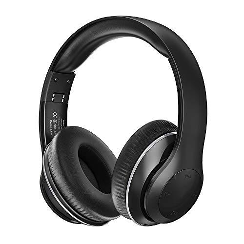 Bluetooth Kopfhörer, Over Ear Kopfhörer mit leichtem Rückstellschaum Ohrpolster & Dual 40mm Treiber (3,5 mm AUX, On Ear Kontrolle, EQ Bass, 15 Stunden Audio Playback)