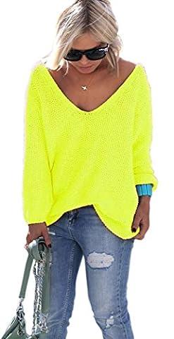 NEON Pullover Summer Long Sleeve V-Neck Jumper Sweater Jumper Top 8-10 (617) (Yellow Neon)