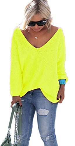 Neon Pink, Gelb, Rosa Pullover mit V-Ausschnitt Urlaub Einheitsgröße S M (617) (Neon Gelb)