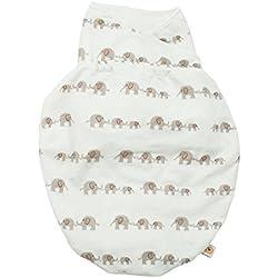 Ergobaby Pucksack Baby 0-3 Monate Baumwolle, Elephant Puck Schlafsack Ganzjahres Pucktuch Swaddler, SWAELEPH