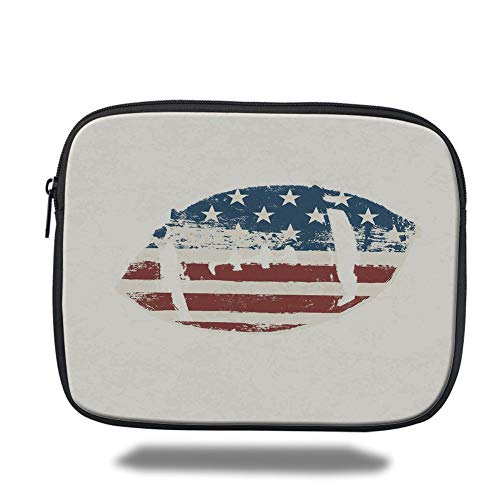Laptop Sleeve Case,Sports,Grunge American Flag Themed Stitched Rugby Ball Vintage Design Football Theme,Cream Blue Red,Tablet Bag for Ipad air 2/3/4/mini 9.7 inch - 66 Rugby