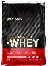 مسحوق واي بروتين غولد ستاندرد 100% بالفراولة اللذيذة من اوبتيموم نوتريشن، 10 باوند