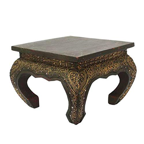 Oriental Galerie Opiumtisch Opium Tisch Beistelltisch Massiv Holz Couchtisch Nachttisch Hocker - 30 cm Dunkelbraun Antik
