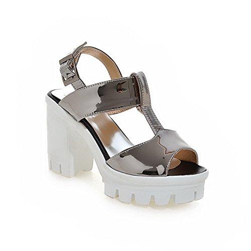 VogueZone009 Donna Tacco Alto Puro Punta Aperta Pelle Di Maiale Fibbia Heeled-Sandals Grigio
