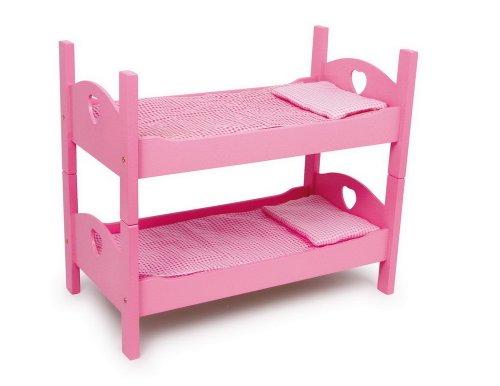 small Foot 2871 Einzel-/Etagenbett Pink aus Holz mit passender Karo-Bettwäsche und Matratzen -