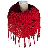 LEORX Moda Donna Inverno Caldo Maglia Lunga Sciarpa Scialle Nappe (Rosso)