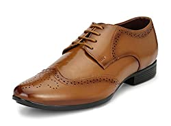 Mactree Mens Tan Artificial Leather Lace-Up Formal Shoes-1803-10