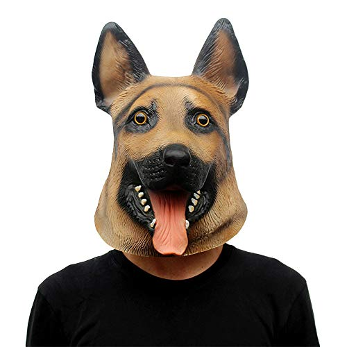 NDHSH Wolf Hund Modelliermaske Kostüm Lustige Party Maske Latex Weihnachtskugel Halloween Maske Tierkopfbedeckung Maskerade Maske,Yellow-OneSize (Hund Kostüm Wolf)